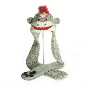 Sock Monkey Scarf Hat - čepice s šálou opice (mladí/dospělí)