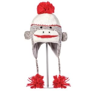 Cute Sock Monkey šedá - zvířecí čepice opice (mladí/dospělí)