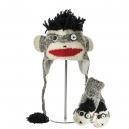 Punk Rock Sock Monkey - sada čepice a rukavice opice (mladí/dospělí)