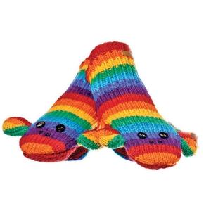Stripe Sock Monkey Rainbow - rukavice opice (mladí/dospělí)